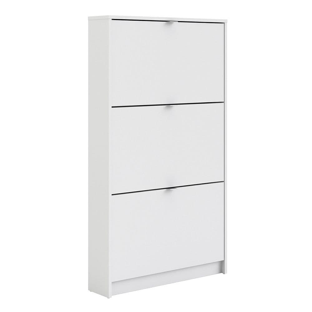 Footwear Shoe cabinet  w. 3 tilting doors and 1 layer in White